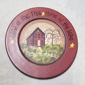 Wooden Decorative Plate Primitive